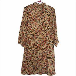 Zara Floral High Neck Long Sleeve Dress